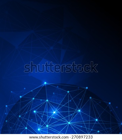 Abstract futuristic .Molecules and polygon digital technology blue background. Illustration Vector design digital technology concept.Blank space for your design or text - stock vector