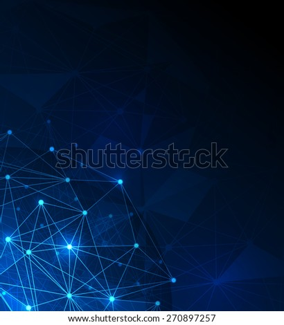 Abstract futuristic - Molecules and polygon digital technology blue background. Illustration Vector design digital technology concept.Blank space for your design or text - stock vector