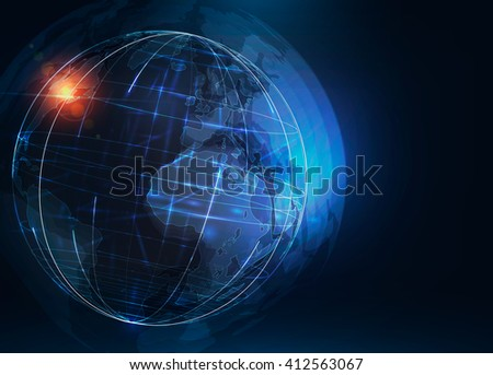 Abstract futuristic realistic earth . Sci Fi globe at motion . Global network connection . 3d planet . International communication . Technology background . Vector illustration  - stock vector