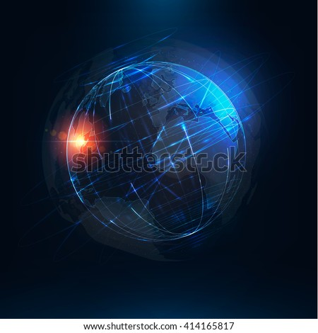 Abstract futuristic realistic earth . Sci Fi globe at motion . Global network connection . 3d planet . International communication .Vector illustration - stock vector