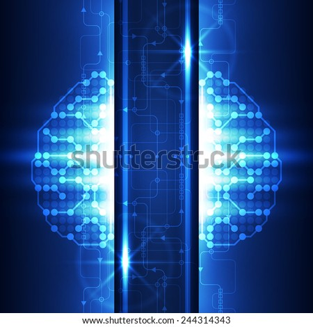 Abstract futuristic technology brain background, vector illustration - stock vector