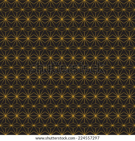 Abstract geometric Art Deco pattern. Seamless golden vector background. Vintage style texture. Vector illustration in art nouveau style. - stock vector