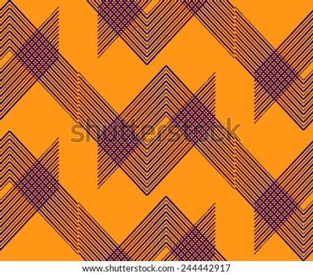 Abstract Geometric Art Deco Seamless Pattern on orange background. Vintage style texture. Cloth design. Can be used for wallpaper, pattern fills, web page background and surface textures.  - stock vector