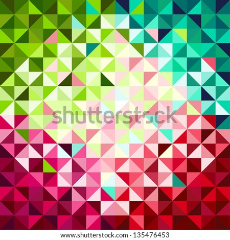Abstract geometric background, red and green - stock vector