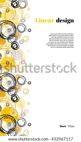 Abstract geometric background. Vertical seamless border stripe design. Black yellow hand drawn intersecting outline circles elegant ornament in white background. Vector element of graphic design. - stock vector