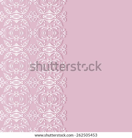 Abstract geometric background, wedding invitation or greeting card design with lace pattern, beautiful luxury postcard, ornate page cover, ornamental vector illustration - stock vector
