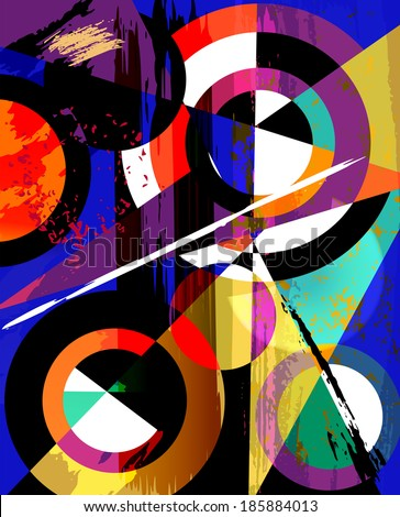 abstract geometric background, with circles, triangles, paint strokes and splashes - stock vector