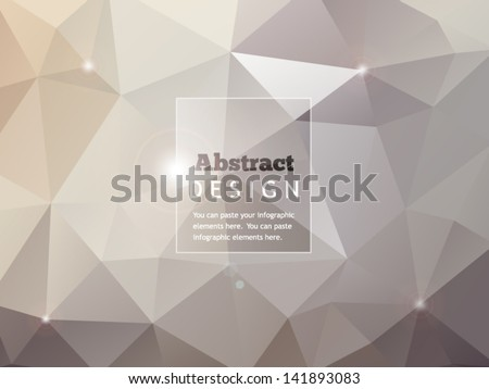 Abstract geometric background with glass banner and lights - stock vector