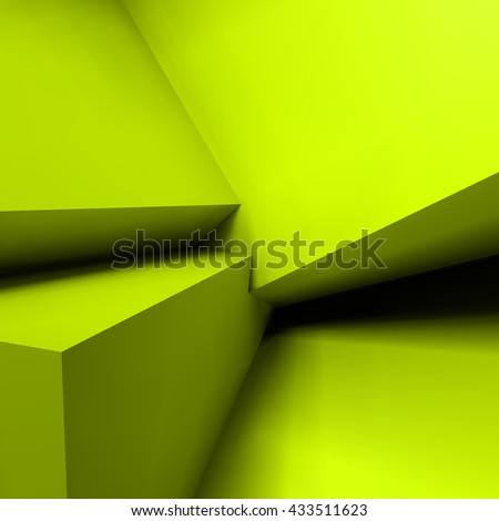 Abstract geometric background with realistic overlapping acid green cubes - stock vector
