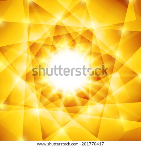 Abstract geometric background with yellow triangles and bright sparkles. Vector summer sun with sunbeams - stock vector