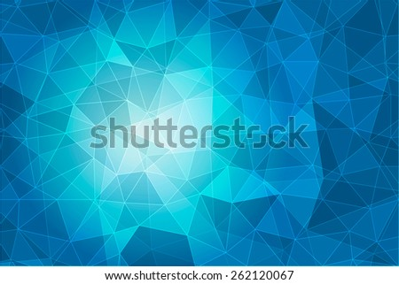 Abstract geometric blue background with triangular polygons, low poly style illustration