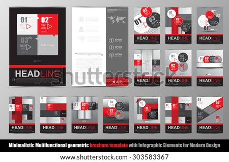 Abstract geometric brochure template. Map. Flyer Layout. Flat Style. Infographic Elements. Vector illustration.  Minimalistic multifunctional media backdrop. Icons.   - stock vector