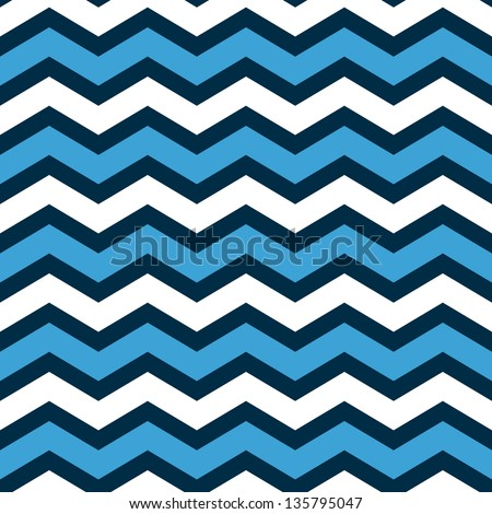 Abstract geometric chevron seamless pattern in blue and white, vector - stock vector