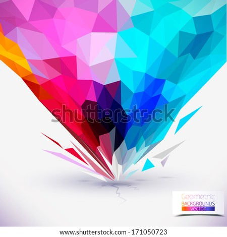 Abstract geometric colorful composition. Tornado colors,broken parts of a geometric figure Communication Background. image illustration, Graphic Design Useful For Your Design - stock vector
