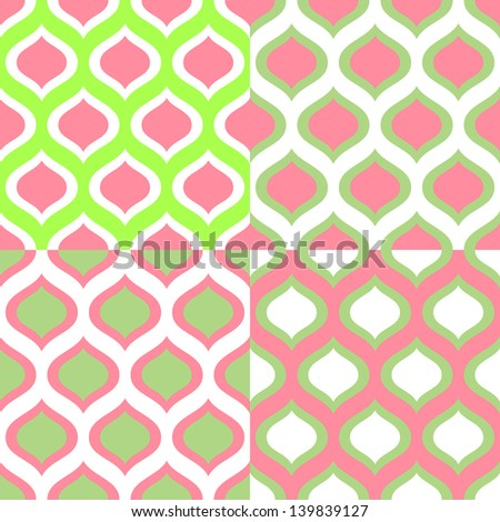 Abstract geometric colorful seamless patterns in green and pink set, vector - stock vector