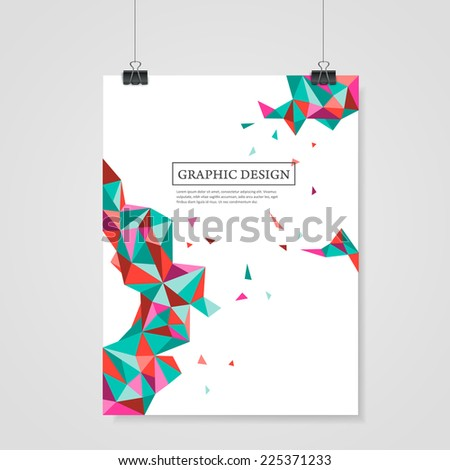 abstract geometric colorful triangles design for poster template - stock vector