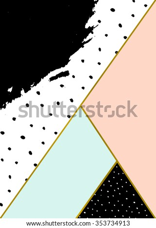 Abstract geometric composition in black, white, gold, pastel pink and blue. Hand drawn brush stroke, dots pattern and geometric elements. Modern and stylish abstract design poster, cover, card design. - stock vector