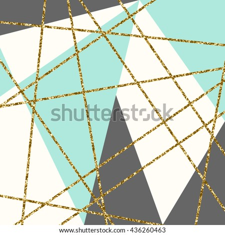 Abstract geometric composition in light blue, cream, gold glitter and gray. Modern and stylish abstract design poster, cover, card design. - stock vector