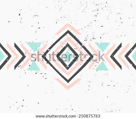 Abstract geometric design in pastel colors. Ethnic decorative art in pink, blue and gray. Indian style pattern. - stock vector