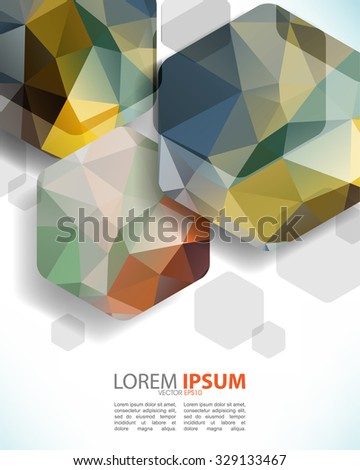 abstract geometric hexagon with triangle shapes inside multicolor shapes. eps10 vector - stock vector