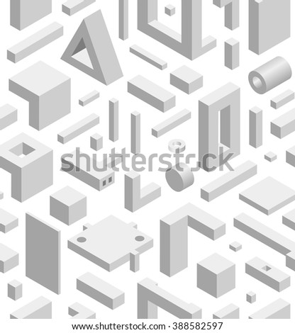 Abstract Geometric Hi-Tech Background with Gray 3D Objects on White. Modern Art Vector Concept. Mix of Geometric Cube Shapes in Funky Techno Style - stock vector