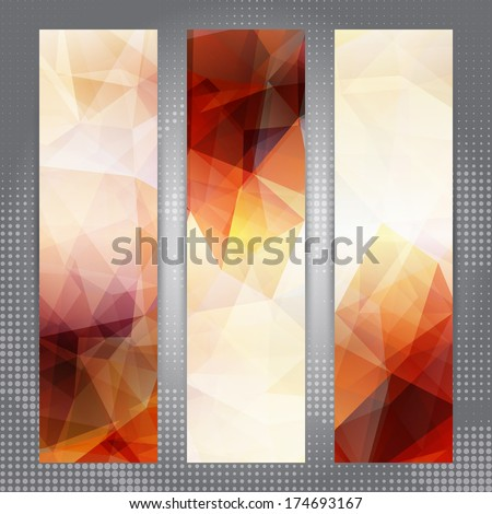 Abstract geometric invitation or banner backgrounds with shining light transparent triangles - stock vector