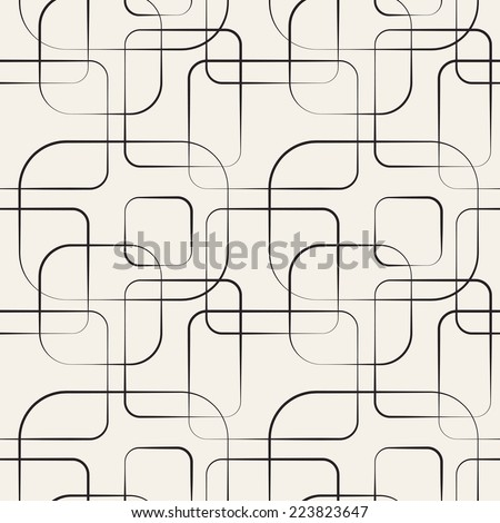 Abstract geometric line and square seamless pattern. Vector illustration for modern design. Black, white color. - stock vector