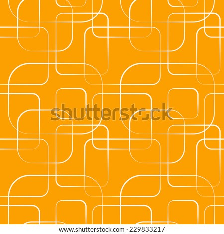 Abstract geometric line and square seamless pattern. Vector illustration for modern design on orange background. Orange and white color. - stock vector