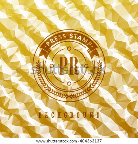 Abstract Geometric logo background. Summer abstract background poster. Vector summer pattern greeting card design, label, advertising, stamp. Spring triangular diagonal gold lines. Emblem frame - stock vector