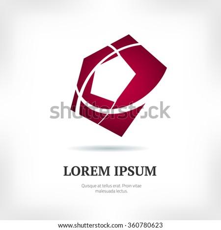Abstract geometric logo. Simple design element. Vector illustration. - stock vector
