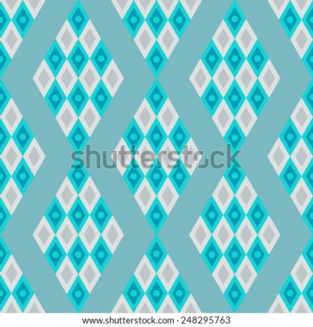 Abstract geometric mosaic seamless pattern in azure colors. Repeating background texture  - stock vector