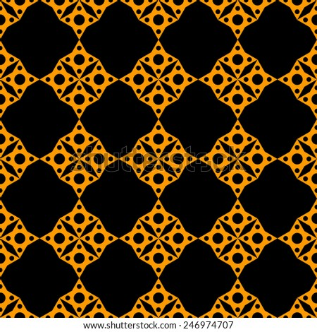 Abstract geometric mosaic seamless pattern in black and gold. Repeating background texture  - stock vector