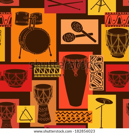 Abstract geometric musical seamless pattern of drum and percussion sets - stock vector
