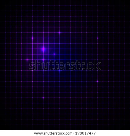 Abstract geometric neon pixel grid background with sparkles. Vector illustration. - stock vector
