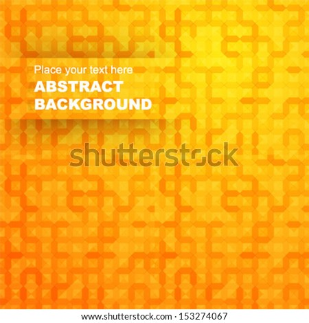 Abstract geometric orange background for design - stock vector
