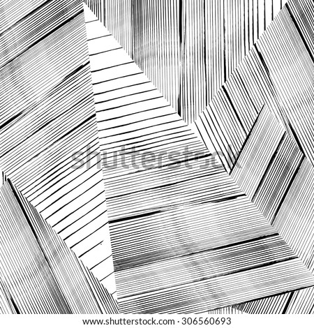 abstract geometric pattern background, with strokes and splashes, black and white - stock vector
