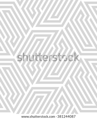 Abstract geometric pattern by lines, hexagons. A seamless vector background. White and gray texture - stock vector