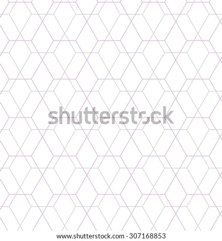 Abstract geometric pattern by lines, hexagons. A seamless vector background. White texture - stock vector