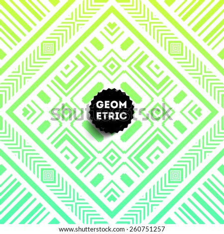 Abstract Geometric Pattern for Modern Hipster Cover Design. Black Label with Place for Business Logo - stock vector