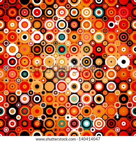 Abstract geometric pattern with dots and circles in disco style, background texture wallpaper in warm colors - stock vector