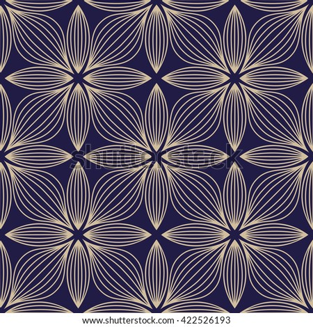 Abstract geometric pattern with lines, flowers. A seamless vector background. Dark blue and gold texture. Ornament for wrapping, wallpaper, tiles - stock vector