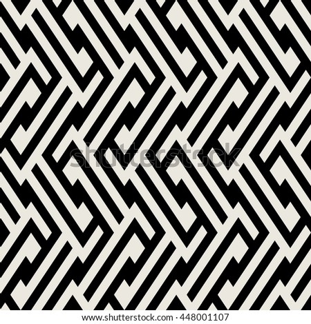 Abstract geometric pattern with maze, diagonal overlapping stripes and crossing lines in black and white. Op art seamless geometric background. Simple monochrome bold print for winter fall fashion - stock vector