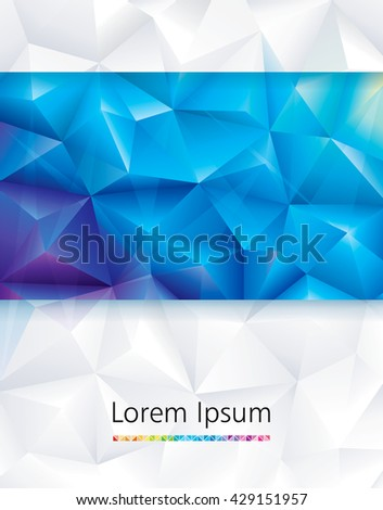 Abstract geometric polygonal blue and white background. - stock vector