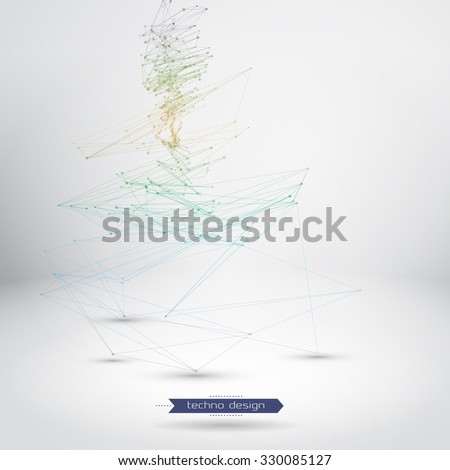 Abstract Geometric Polygonal Shape. Vector Science Background. Futuristic Technology Background. Connecting Dots and Lines Structure  - stock vector