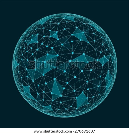 Abstract geometric polygonal shape with triangular faces,  connection structure sphere - stock vector