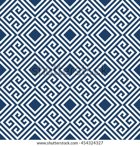 Abstract geometric repeatable blue and white line seamless pattern design background editable vector file. Polygonal linear grid from striped elements. - stock vector