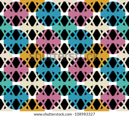Abstract geometric seamless pattern. Black and white style pattern with circle. - stock vector