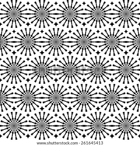Abstract geometric seamless pattern. Black and white style pattern with circle and line. Endless texture for wallpaper, fill, web page background, surface texture. - stock vector
