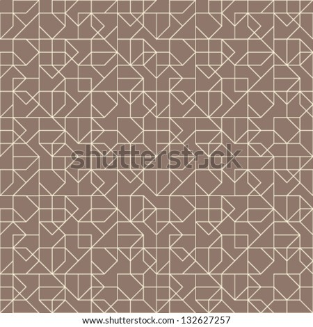 Abstract geometric seamless pattern. Brown and white pattern with line. - stock vector