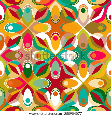 Abstract geometric seamless pattern inspired by 1970s fashion in multiple bright colors. Vector vintage background with vibrant, bold design - stock vector